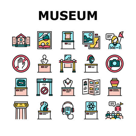 Museum Gallery Exhibit Collection Icons Set Vector. Museum Building And Paint, Sculpture And Statue, Audio Guid Player And Metal Detector Concept Linear Pictograms. Color Contour Illustrations  イラスト・ベクター素材