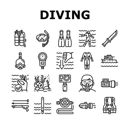 Diving Scuba Equipment Collection Icons Set Vector. Mask And Snokler, Fins And Swimming Suit, Flash Light And Knife Diving Tool Black Contour Illustrations