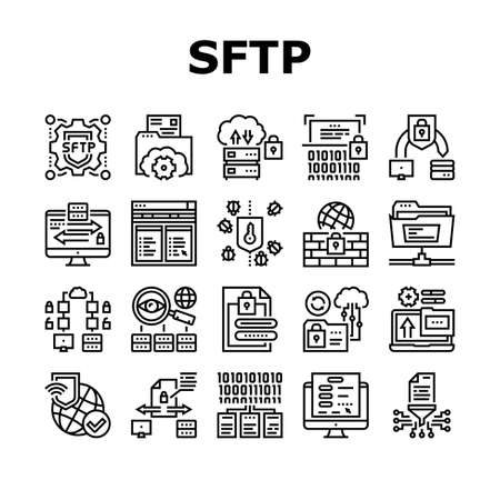 Ssh, Sftp File Transfer Protocol Icons Set Vector. Security And Protection Data Server And Information, Network Folder And Sftp File Black Contour Illustrations Ilustração Vetorial