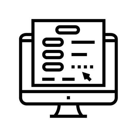 online authentication line icon vector. online authentication sign. isolated contour symbol black illustration