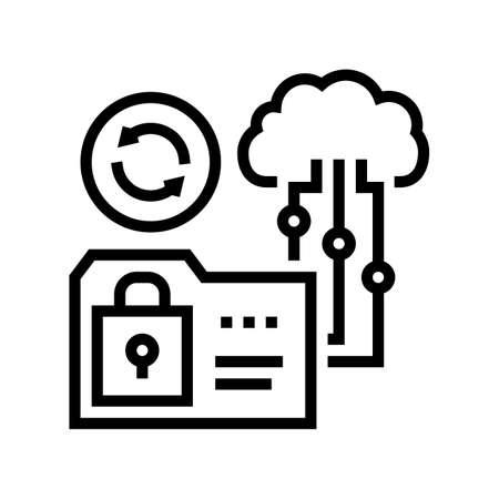 cloud storage line icon vector. cloud storage sign. isolated contour symbol black illustration