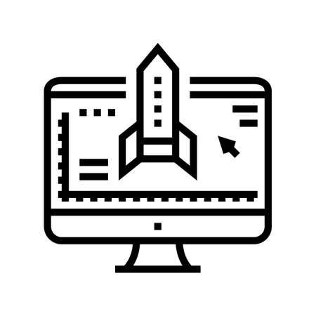 rocket modeling computer program line icon vector. rocket modeling computer program sign. isolated contour symbol black illustration
