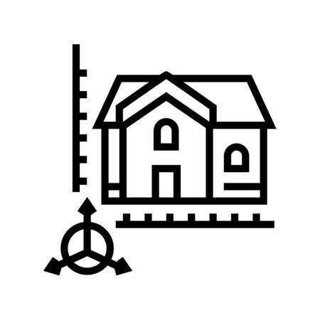 house construction modeling line icon vector. house construction modeling sign. isolated contour symbol black illustration