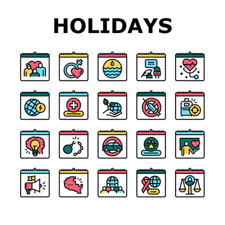 World Holidays Event Collection Icons Set Vector. Global Family And Women Day, Tolerance And Democracy, Red Cross And Water Holidays Concept Linear Pictograms. Color Contour Illustrations
