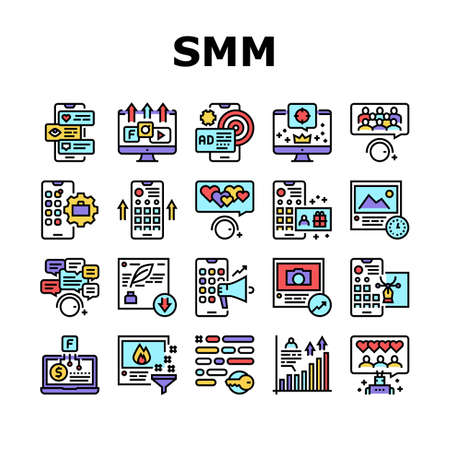 Smm Media Marketing Collection Icons Set Vector. Robotic Winding Up Likes And Viewing, Social Advertising And Promotion, Smm Service Concept Linear Pictograms. Color Contour Illustrations