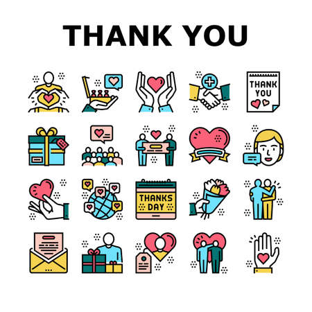 Thank You Day Holiday Collection Icons Set Vector. Thanks Day Calendar Date Event And Message Letter, Heart And Present, Flower Bouquet Gift Concept Linear Pictograms. Color Contour Illustrations