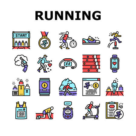 Running Athletic Sport Collection Icons Set Vector. Treadmill Running Equipment And Gun, Stopwatch And Headphones, Sneaker And T-shirt Concept Linear Pictograms. Color Contour Illustrations 向量圖像