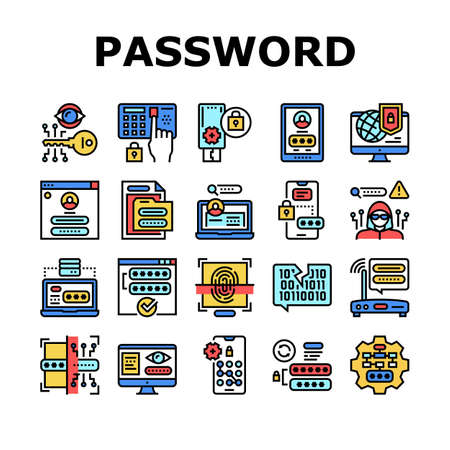 Password Protection Collection Icons Set Vector. Electronic Key And Fingerprint, Wifi Router And Computer, Smartphone And Folder Password Concept Linear Pictograms. Color Contour Illustrations