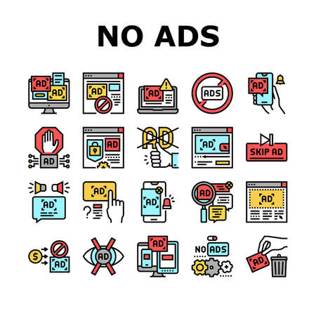 No Ads Advertise Free Collection Icons Set Vector. Skip Ad Button And Blocking Application, No Ads On Computer Screen And Smartphone Display Concept Linear Pictograms. Color Contour Illustrations