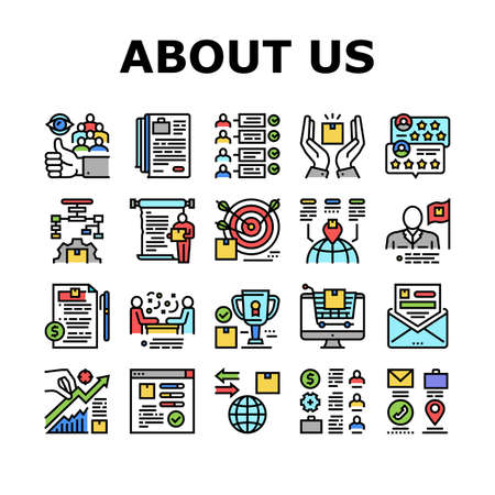 About Us Presentation Collection Icons Set Vector. Company And Store Review And Presentation, Characteristics And Skills, Agreement And Contract Concept Linear Pictograms. Color Contour Illustrations Ilustração Vetorial