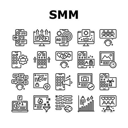 Smm Media Marketing Collection Icons Set Vector. Robotic Winding Up Likes And Viewing, Social Advertising And Promotion, Smm Service Black Contour Illustrations
