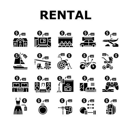 Rental Service Business Collection Icons Set Vector. House And Apartment, Car And Airplane, Boat And Crane Truck, Bicycle And Wheel Chair Rental Glyph Pictograms Black Illustrations