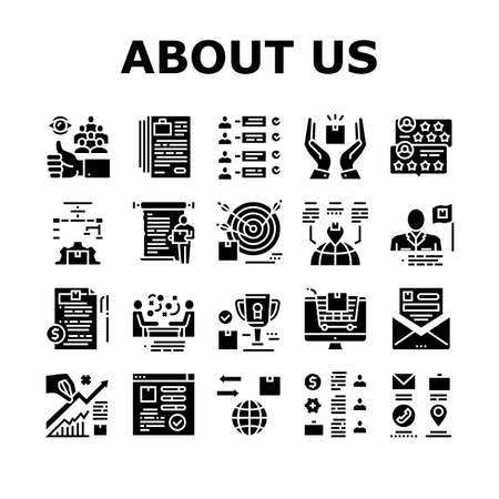 About Us Presentation Collection Icons Set Vector. Company And Store Review And Presentation, Characteristics And Skills, Agreement And Contract Glyph Pictograms Black Illustrations Ilustração Vetorial