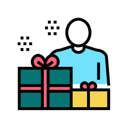 human with presents color icon vector. human with presents sign. isolated symbol illustration