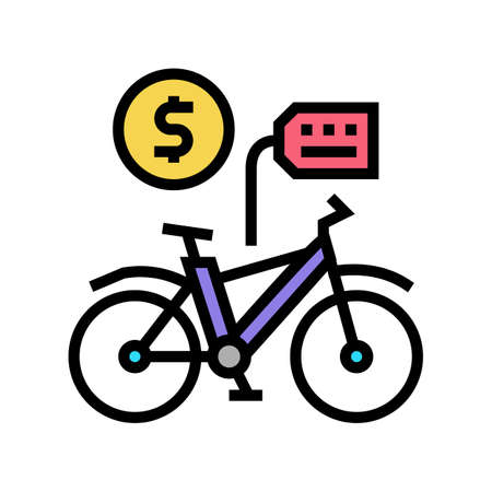 bicycle rental color icon vector. bicycle rental sign. isolated symbol illustration Çizim