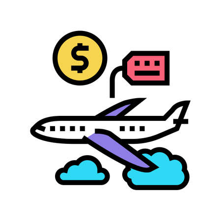 airplane rental color icon vector. airplane rental sign. isolated symbol illustration Çizim