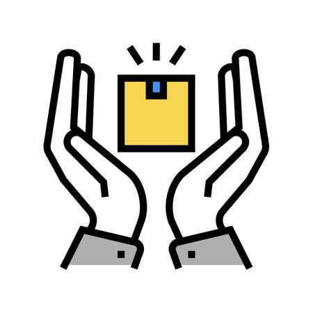 delivery border protection color icon vector. delivery border protection sign. isolated symbol illustration