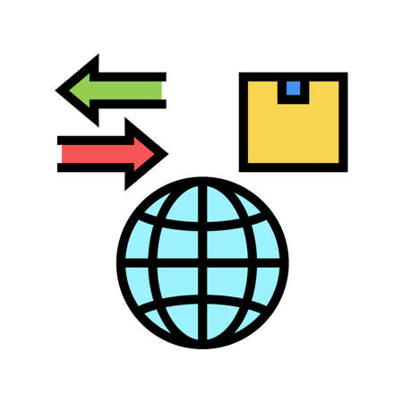 world import and export color icon vector. world import and export sign. isolated symbol illustration