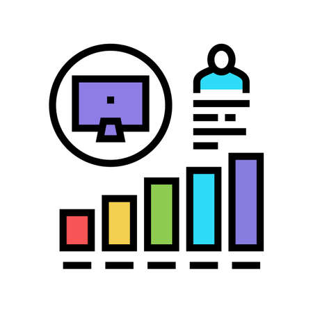 worker growing indicators color icon vector. worker growing indicators sign. isolated symbol illustration 向量圖像
