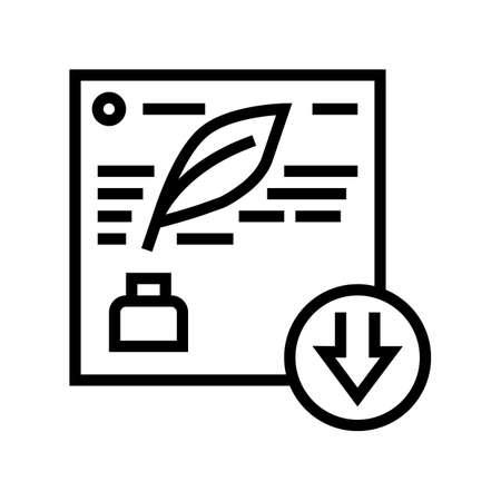 writing description line icon vector. writing description sign. isolated contour symbol black illustration