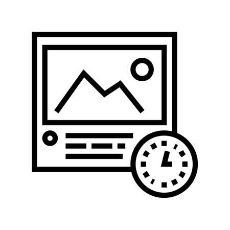 picture viewing time line icon vector. picture viewing time sign. isolated contour symbol black illustration