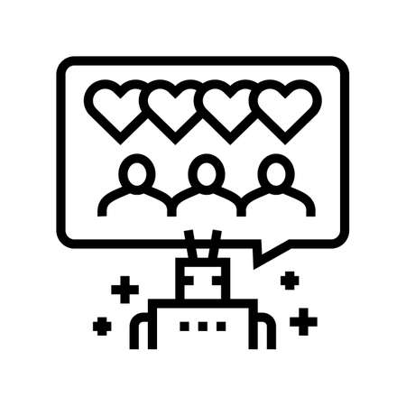 robotic winding up likes line icon vector. robotic winding up likes sign. isolated contour symbol black illustration