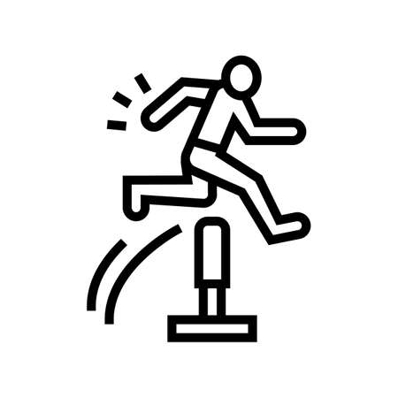 run and jump line icon vector. run and jump sign. isolated contour symbol black illustration