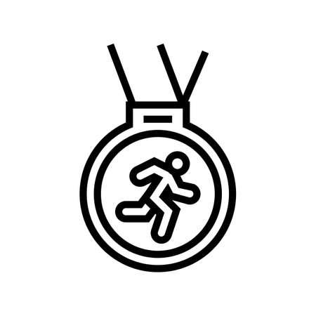 medal runner award line icon vector. medal runner award sign. isolated contour symbol black illustration 向量圖像