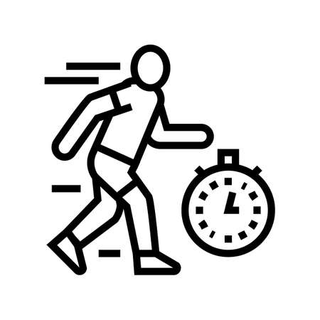 run on time line icon vector. run on time sign. isolated contour symbol black illustration 向量圖像