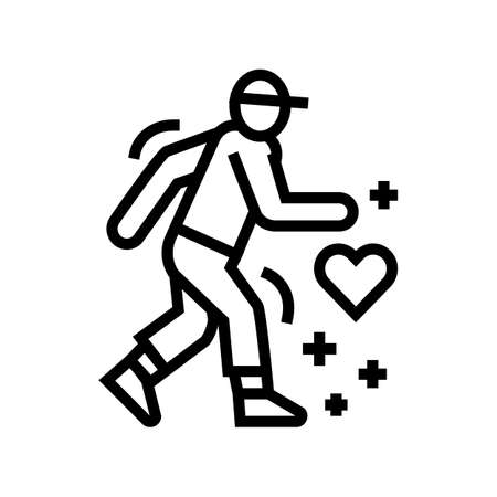 healthy running line icon vector. healthy running sign. isolated contour symbol black illustration 向量圖像