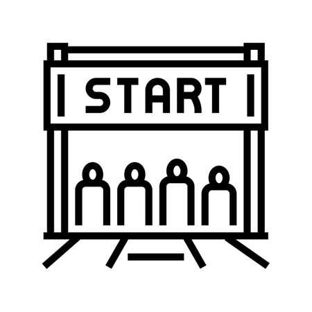 start of run line icon vector. start of run sign. isolated contour symbol black illustration