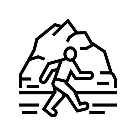 winter running line icon vector. winter running sign. isolated contour symbol black illustration