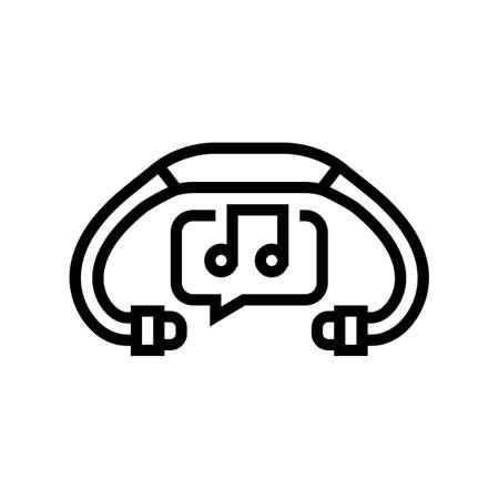 music headphones line icon vector. music headphones sign. isolated contour symbol black illustration 向量圖像