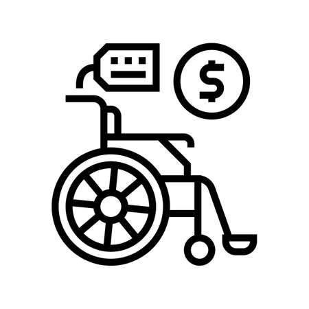 wheel chair rental line icon vector. wheel chair rental sign. isolated contour symbol black illustration
