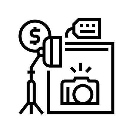 photo camera and studio rental line icon vector. photo camera and studio rental sign. isolated contour symbol black illustration