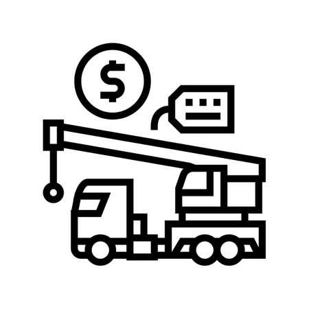 crane rental line icon vector. crane rental sign. isolated contour symbol black illustration