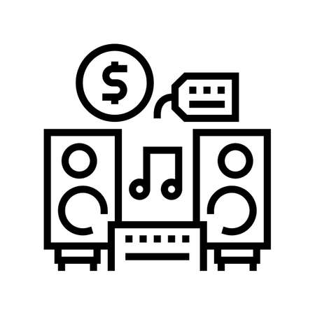 music device rental line icon vector. music device rental sign. isolated contour symbol black illustration
