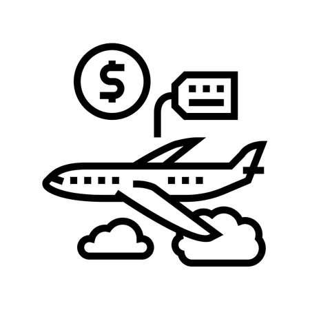 airplane rental line icon vector. airplane rental sign. isolated contour symbol black illustration 向量圖像