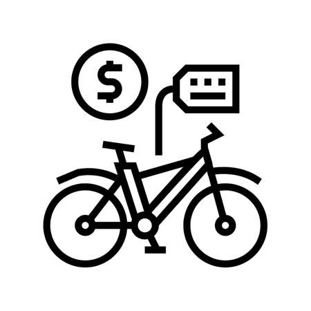 bicycle rental line icon vector. bicycle rental sign. isolated contour symbol black illustration