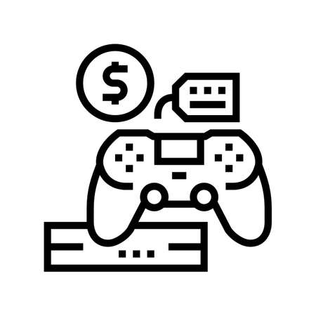 game device rental line icon vector. game device rental sign. isolated contour symbol black illustration