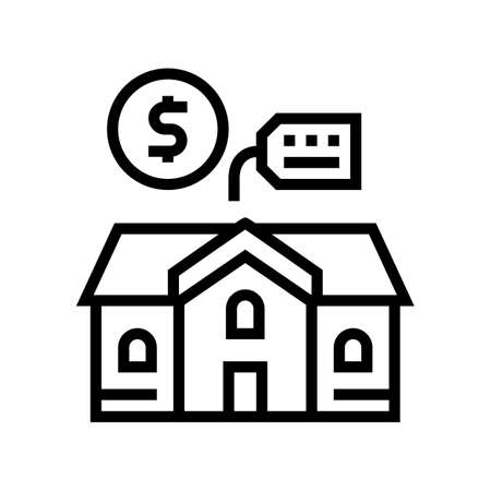 house building rental line icon vector. house building rental sign. isolated contour symbol black illustration