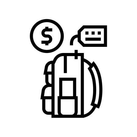backpack tourist rental line icon vector. backpack tourist rental sign. isolated contour symbol black illustration