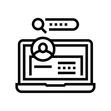 user entry laptop password line icon vector. user entry laptop password sign. isolated contour symbol black illustration 向量圖像