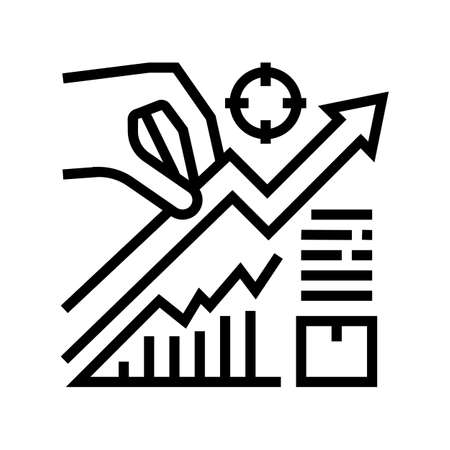 growth business line icon vector. growth business sign. isolated contour symbol black illustration 向量圖像