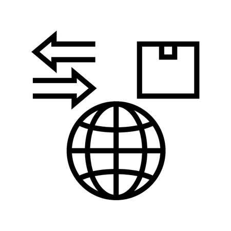 world import and export line icon vector. world import and export sign. isolated contour symbol black illustration Vector Illustratie