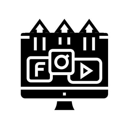blog photo social pages promotion glyph icon vector. blog photo social pages promotion sign. isolated contour symbol black illustration