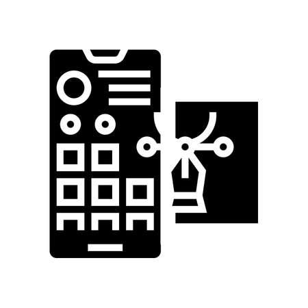 editing photo for social page glyph icon vector. editing photo for social page sign. isolated contour symbol black illustration Vektoros illusztráció