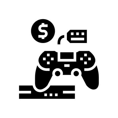 game device rental glyph icon vector. game device rental sign. isolated contour symbol black illustration