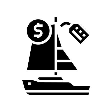 boat rental glyph icon vector. boat rental sign. isolated contour symbol black illustration