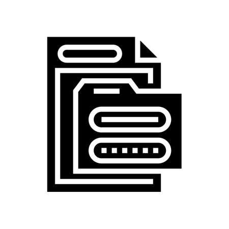 electronic folder password glyph icon vector. electronic folder password sign. isolated contour symbol black illustration 向量圖像